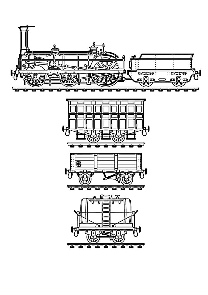 Паровоз и разные вагоны с тяжёлым грузом