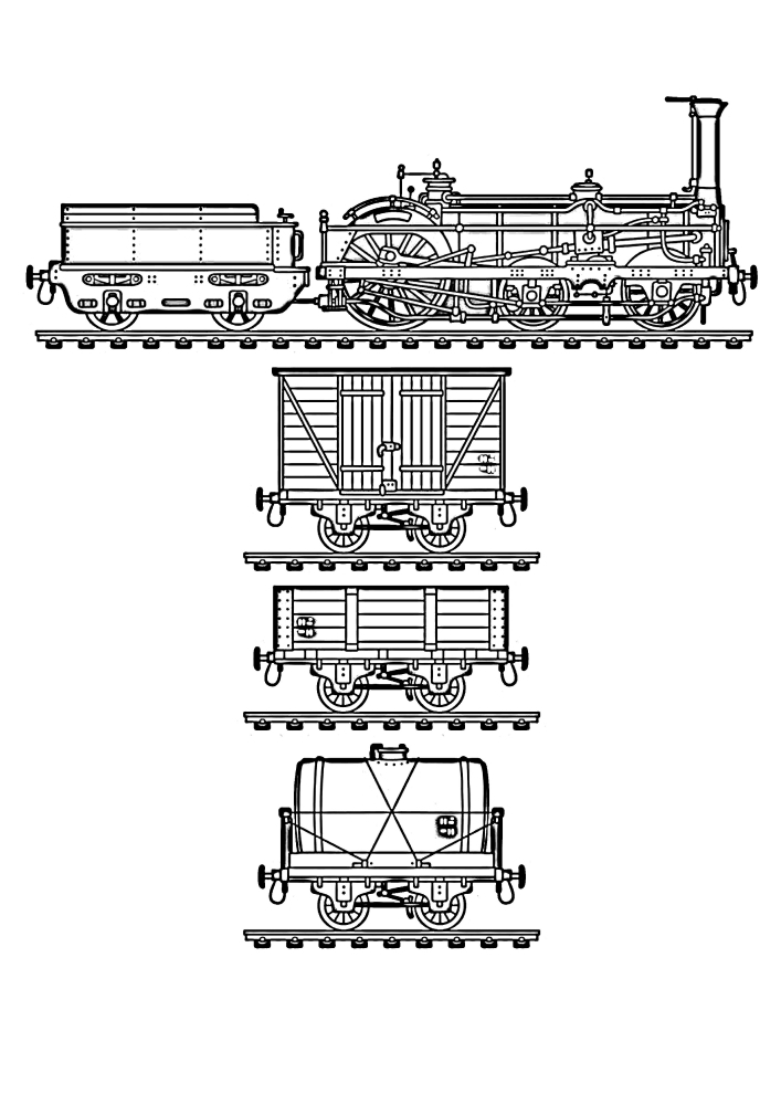 Паровоз и вагоны - раскраска