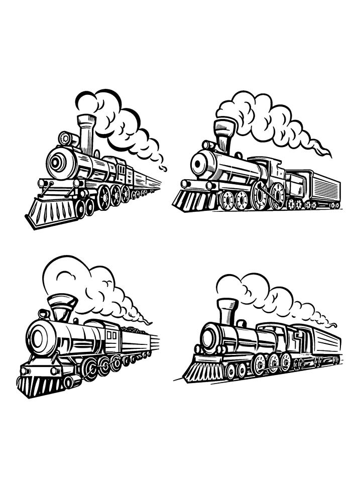 Один и тот же паровоз и разные вагоны с грузом