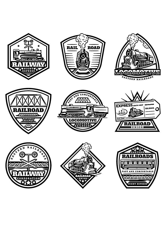 Значки паровозов и поездов