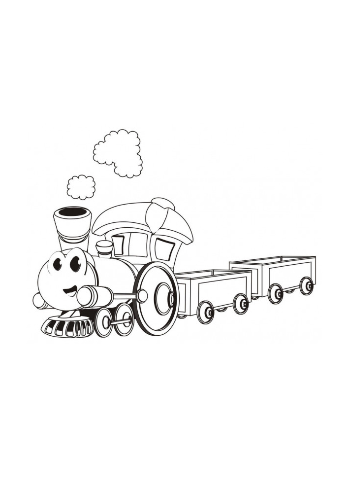 Поезд с глазами - раскраска для детей