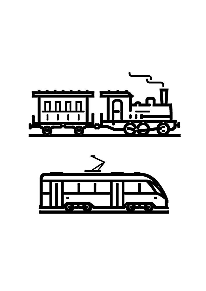 Современный и старинный поезда