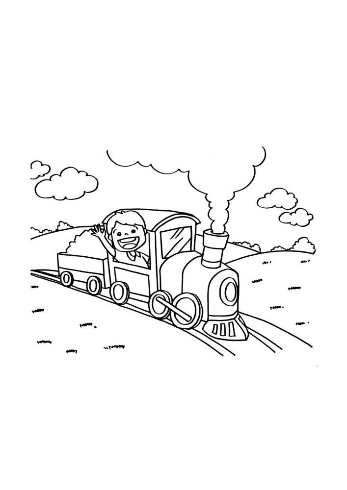 Детская раскраска поезда, которым управляет весёлый мальчик