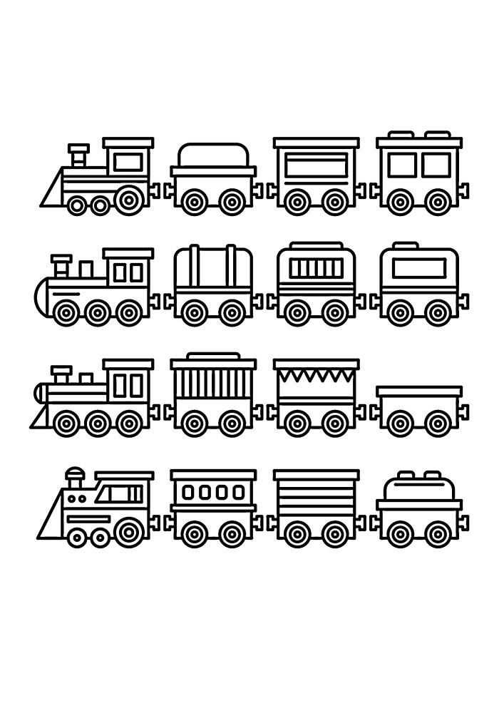 Поезда - раскраска для малышей