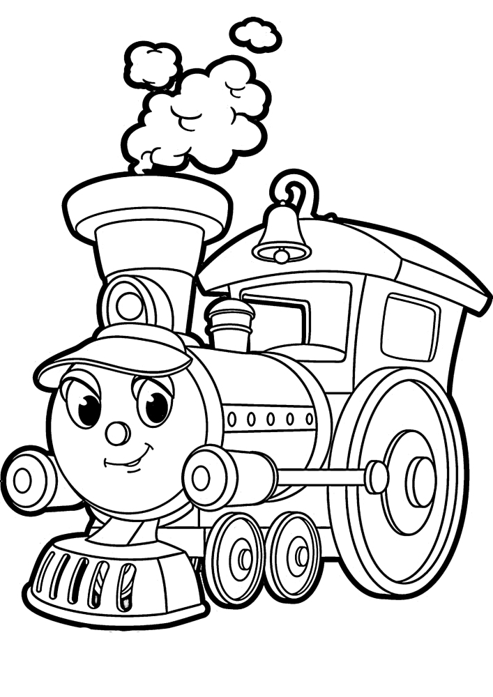 Живой паровозик с глазами - раскраска для малышей 4 лет