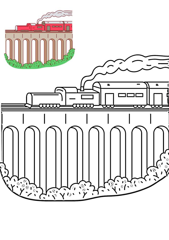 Поезд едет по мосту - раскраска с образцом разукрашивания