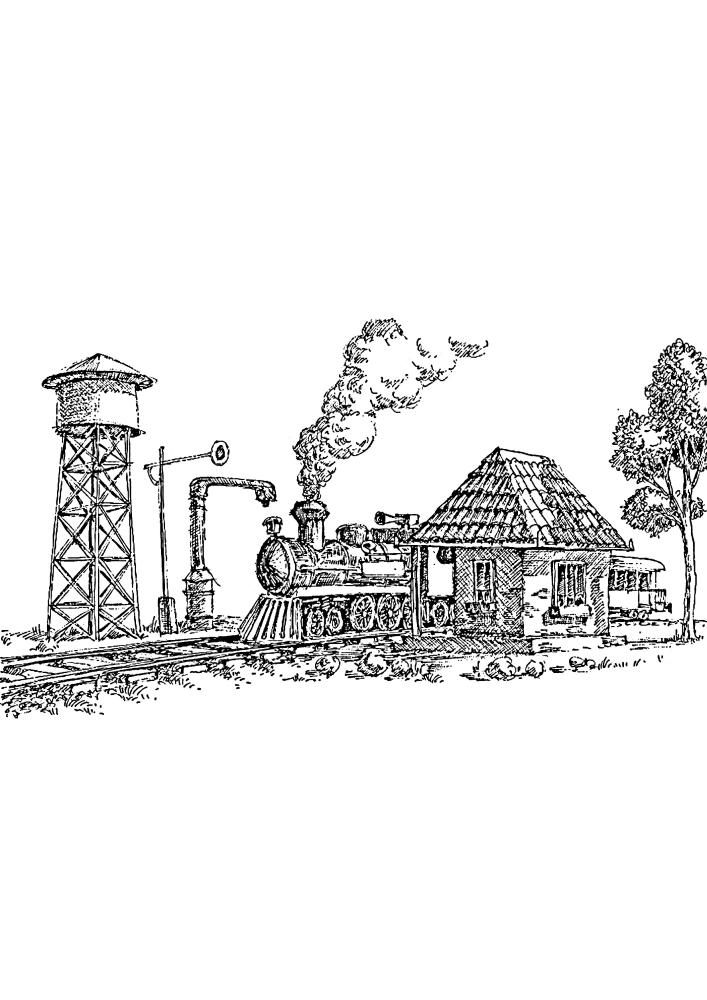 Паровоз проезжает водонапорную башню и здание с контролёром