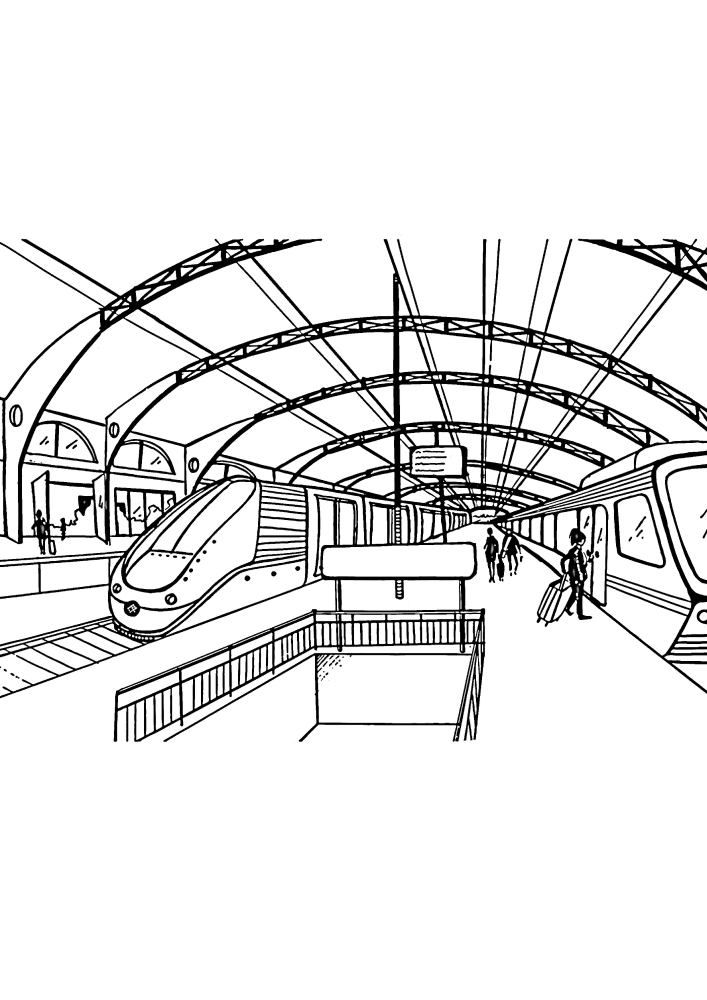 Железнодорожная станция - раскраска