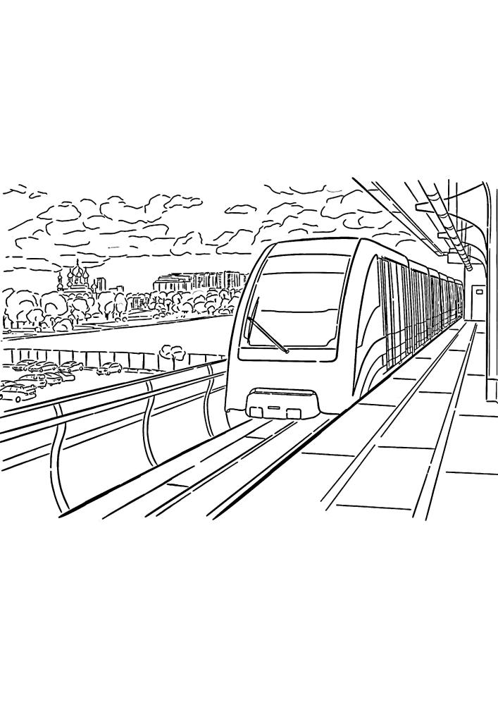 Поезд прибыл на железнодорожную станцию, чтобы забрать людей